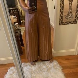 Faux leather ankle flare pants